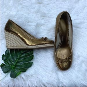 Coach Gold Pull On Round Toe Espadrille Wedge